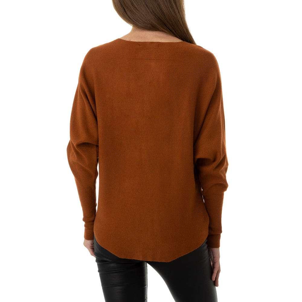 Pulover tricotat pentru femei de la Whoo Fashion Gr. O mărime - maro - image 3