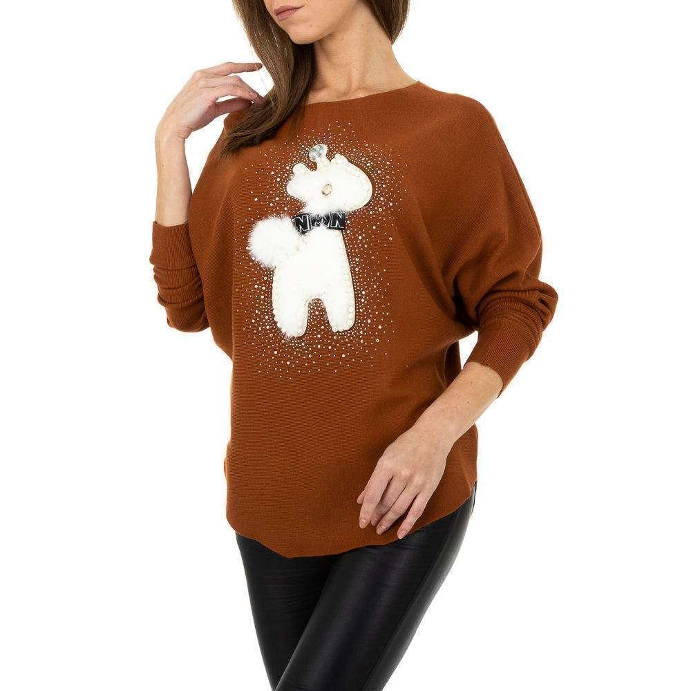 Pulover tricotat pentru femei de la Whoo Fashion Gr. O mărime - maro - image 4