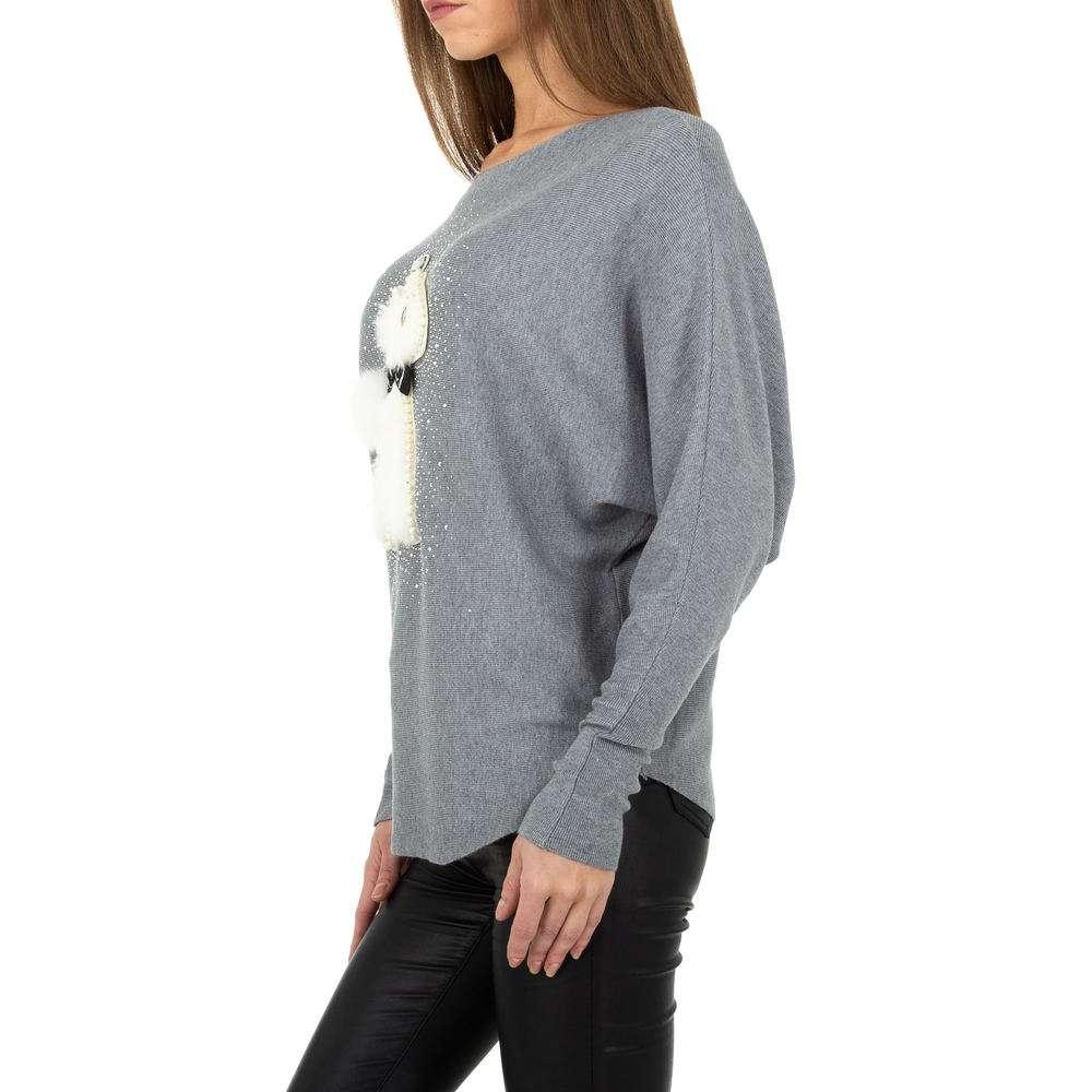 Pulover tricotat pentru damă. O singură mărime - gri - image 2