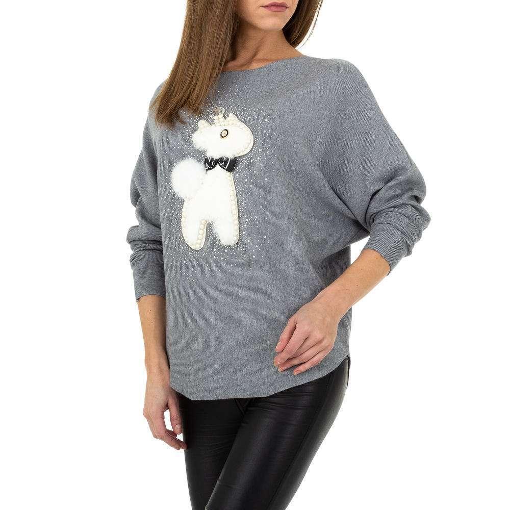 Pulover tricotat pentru damă. O singură mărime - gri - image 4