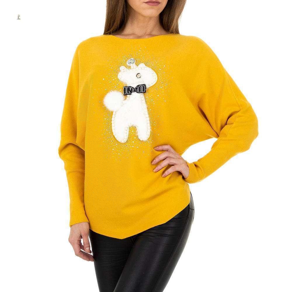 Pulover tricotat pentru femei de la Whoo Fashion Gr. O mărime - galben