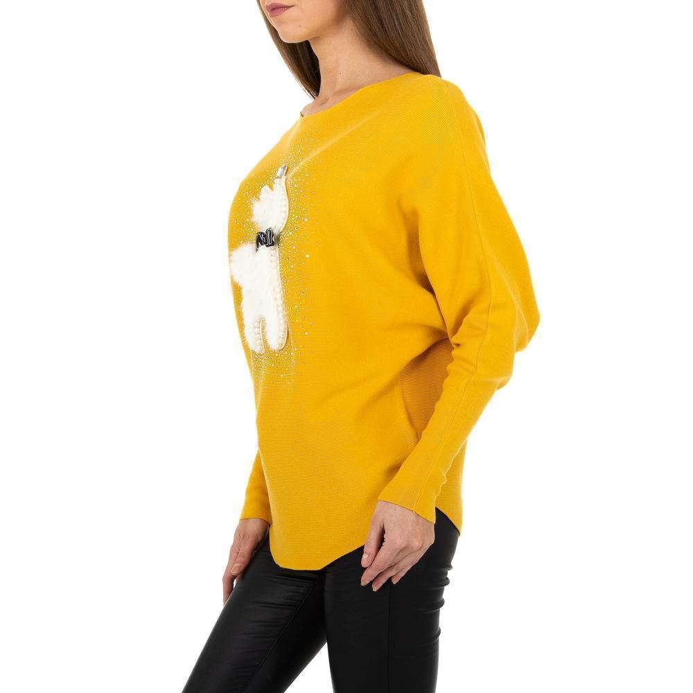 Pulover tricotat pentru femei de la Whoo Fashion Gr. O mărime - galben - image 2