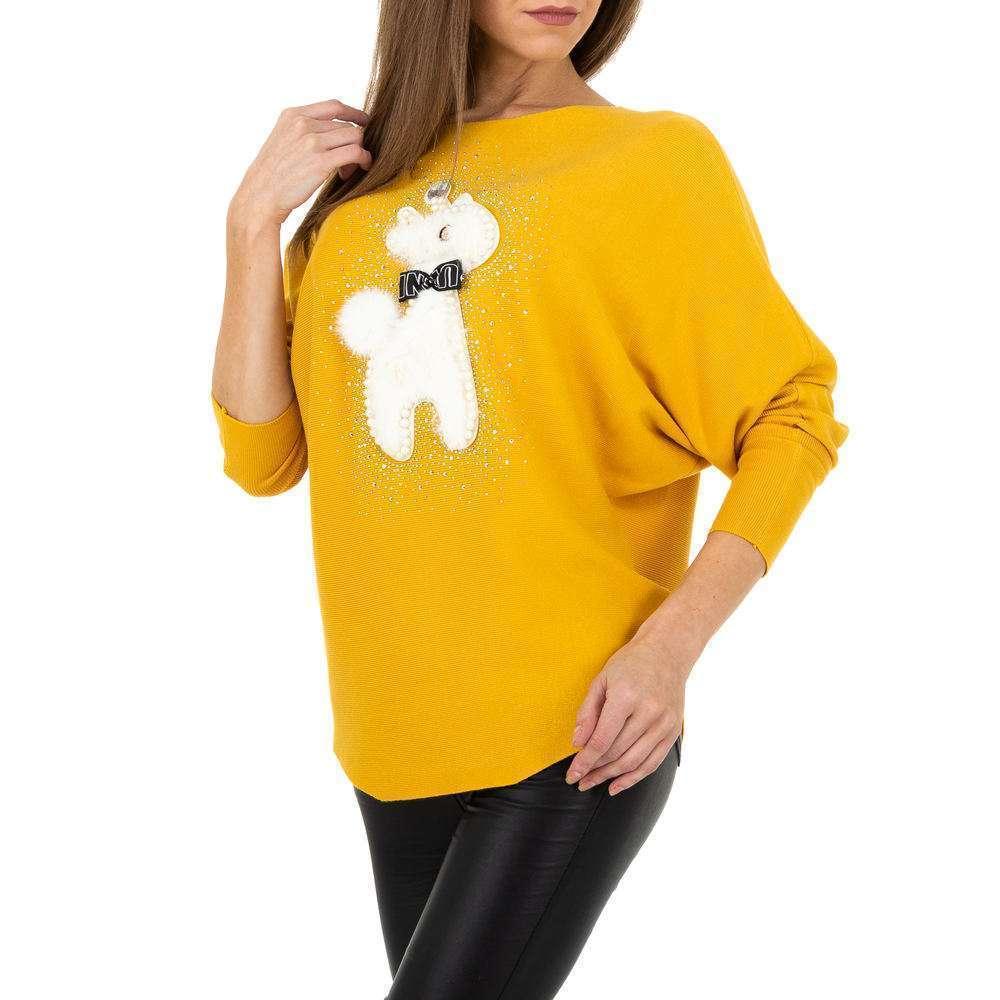 Pulover tricotat pentru femei de la Whoo Fashion Gr. O mărime - galben - image 4