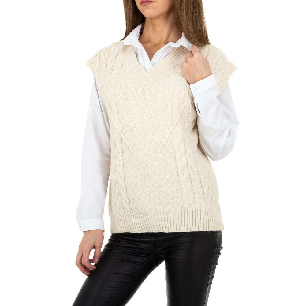 Pulover tricotat pentru femei de Shako White Icy Gr. O mărime - alb murdar