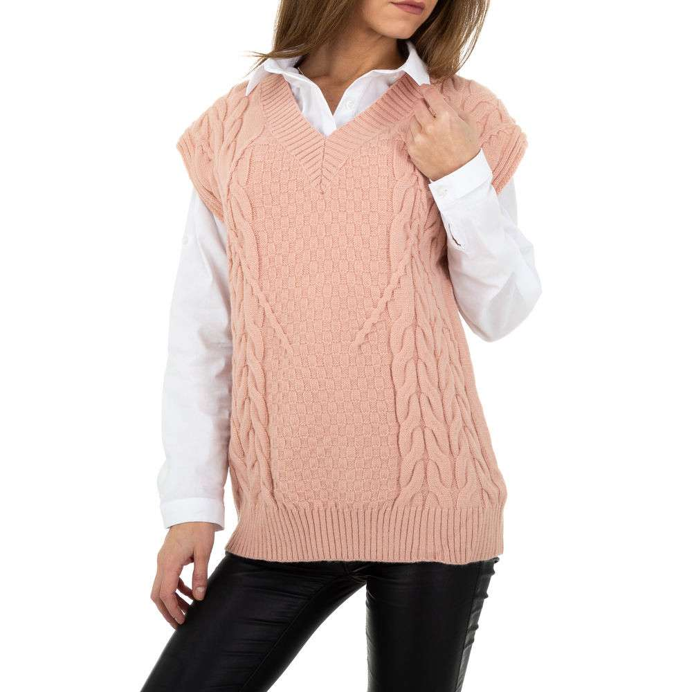 Pulover tricotat pentru femei de Shako White Icy Gr. O mărime - trandafir