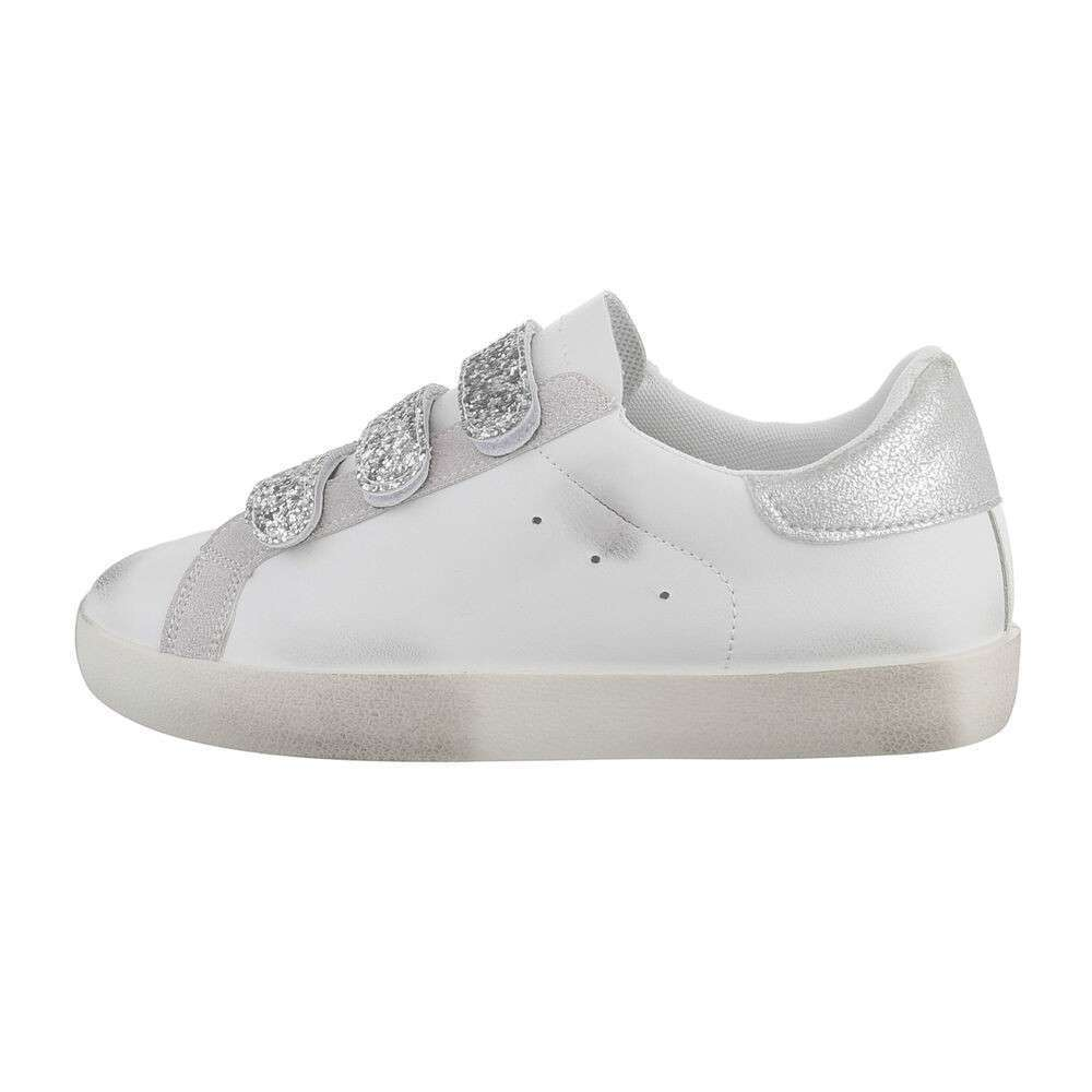 Teniși pentru femei - alb-argintiu