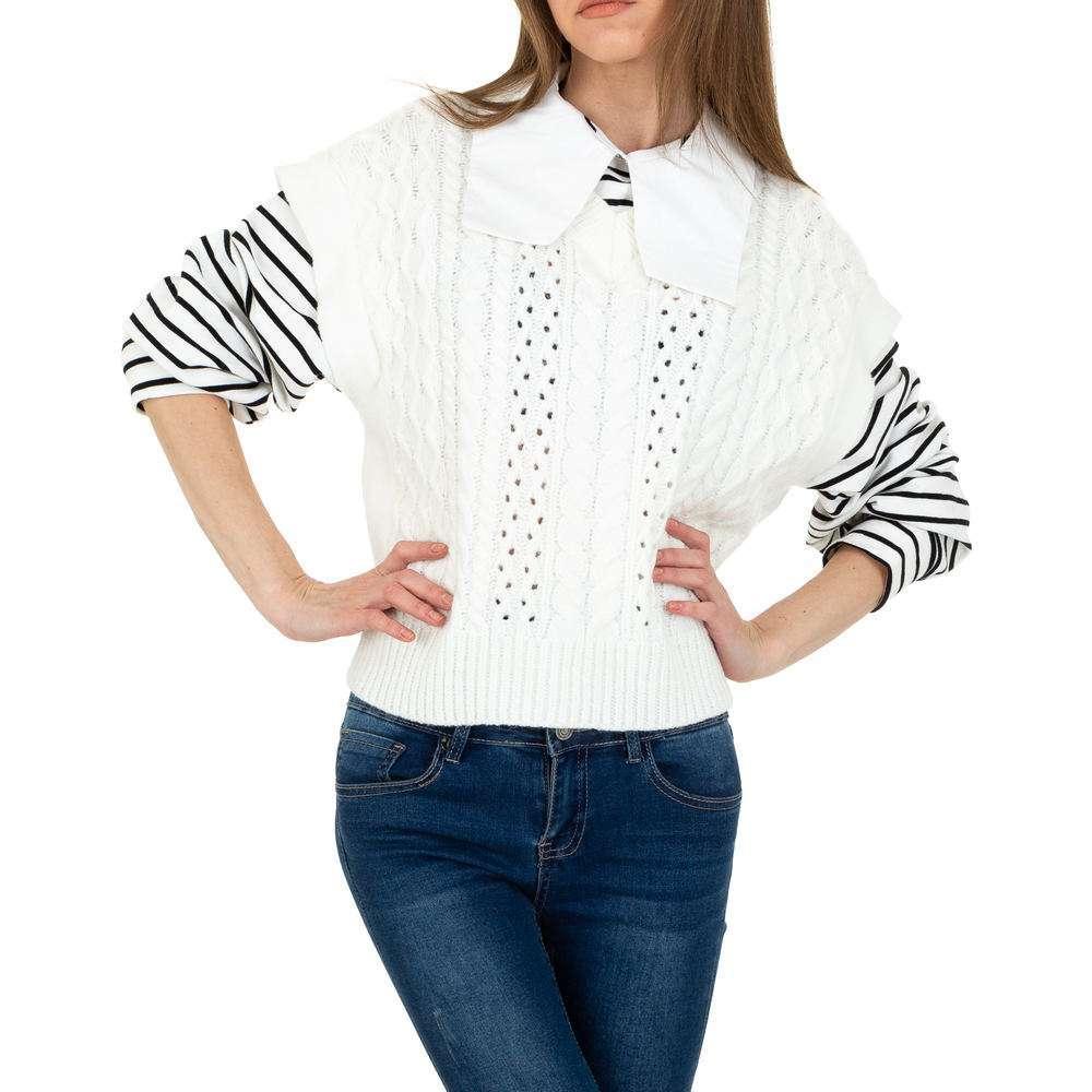 Pulover tricotat pentru femei de JCL Gr. O singură mărime - alb