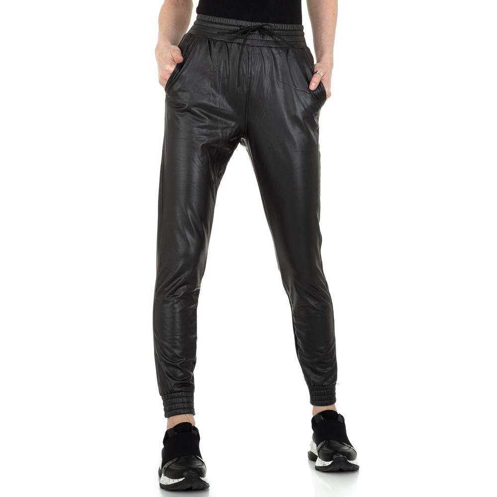 Pantaloni cu aspect de piele pentru femei, colorat de Denim - negru