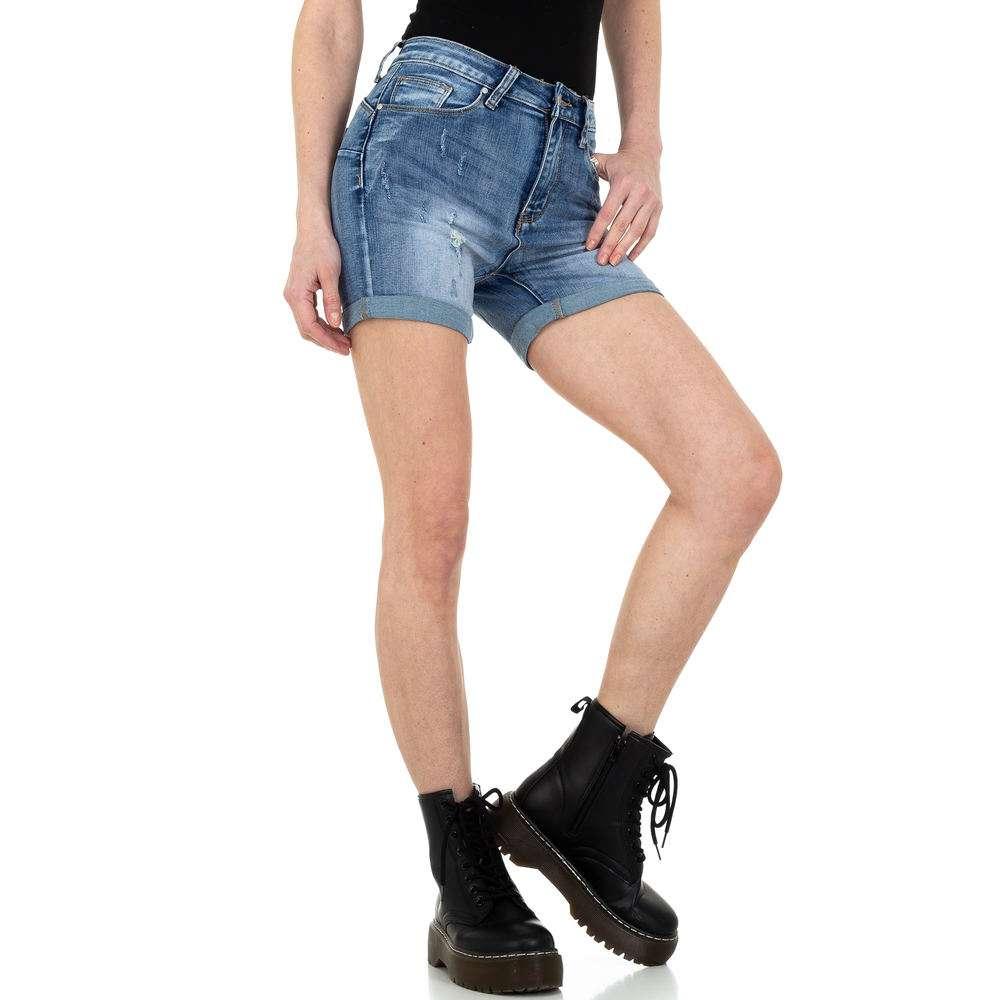 Pantaloni scurți din denim pentru femei de la Denim colorat - albastru