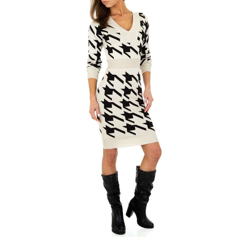 Rochie tricotată pentru femei de Emma & Ashley Design - bej negru