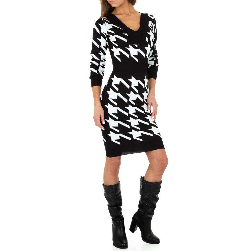 Rochie tricotată pentru femei de Emma & Ashley Design - alb-negru