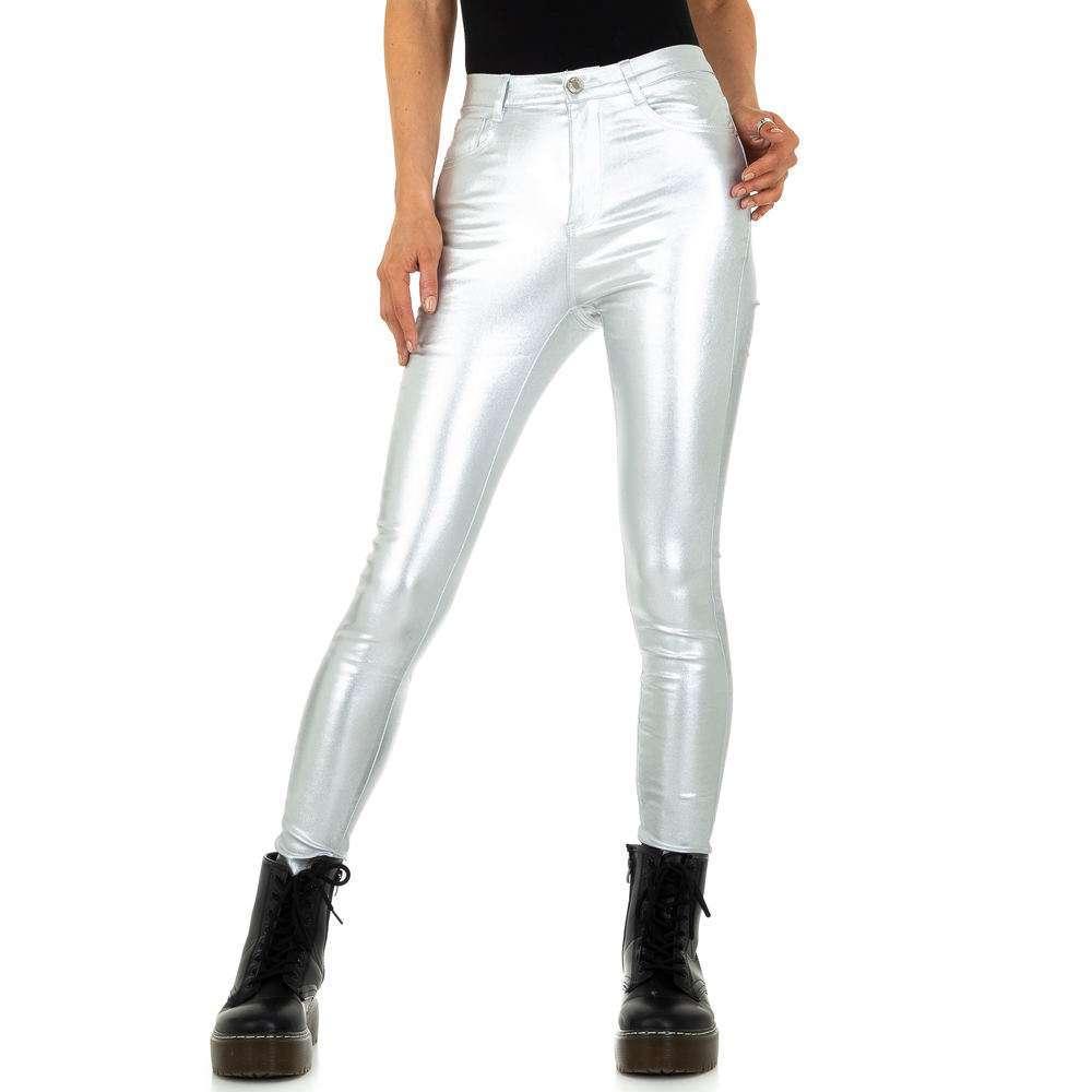 Pantaloni skinny pentru femei - argintii