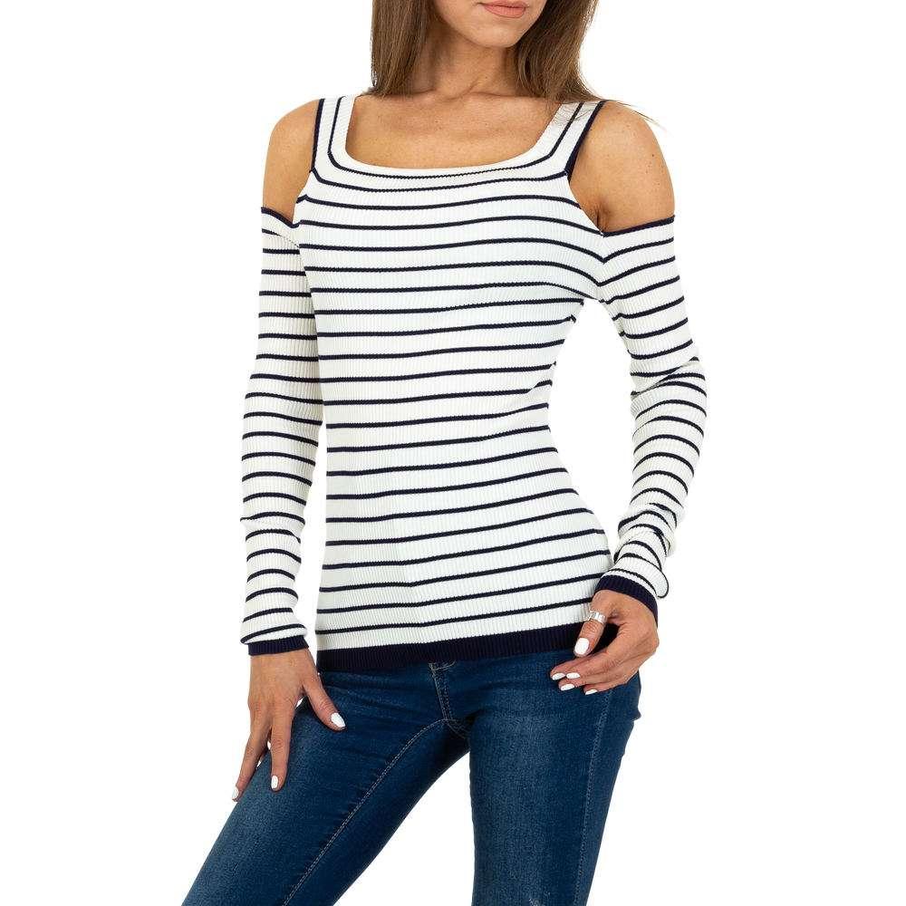 Pulover tricotat pentru femei Gr. O mărime - albastru alb