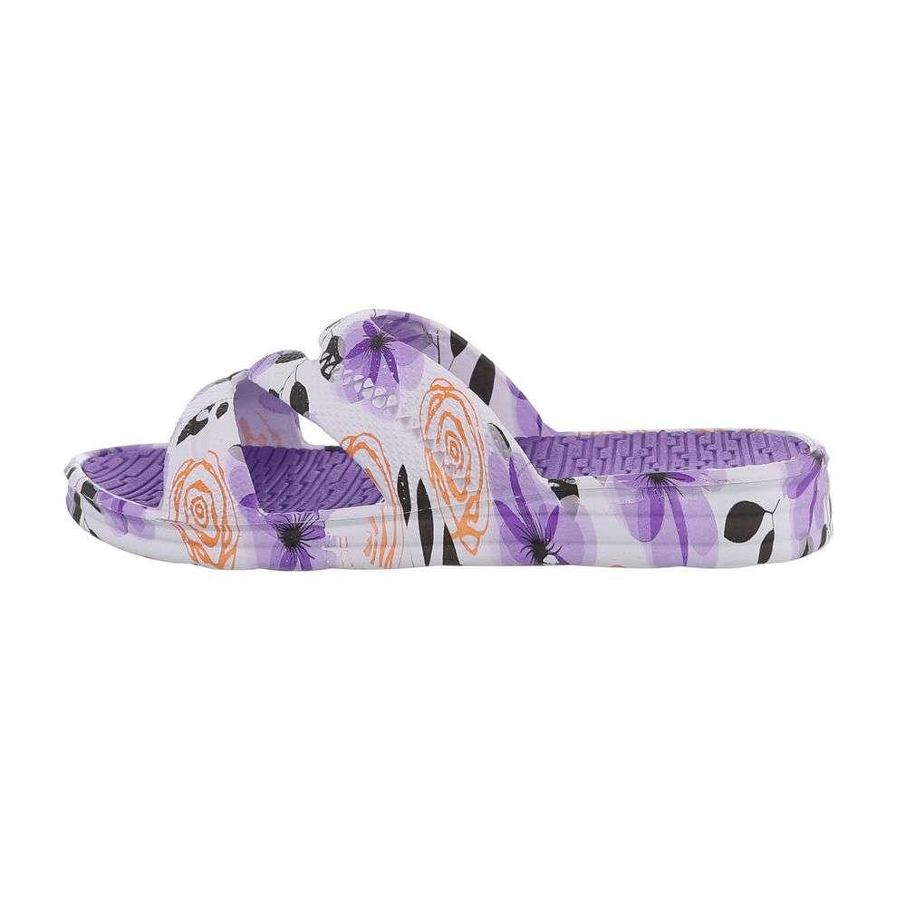 Șlapi de cauciuc pentru femei - violet alb