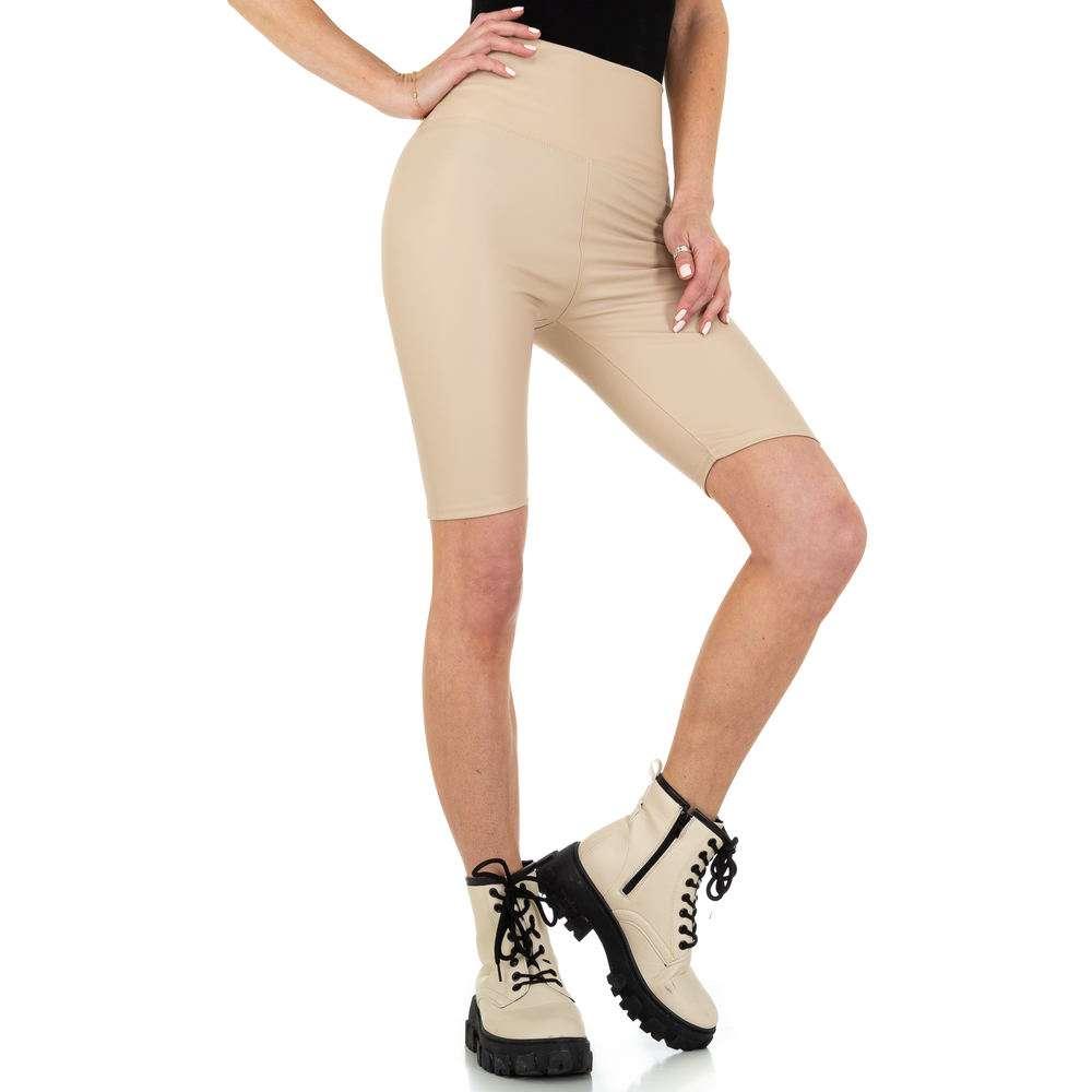 Pantaloni scurți pentru femei cu talie înaltă marca Holala - bej