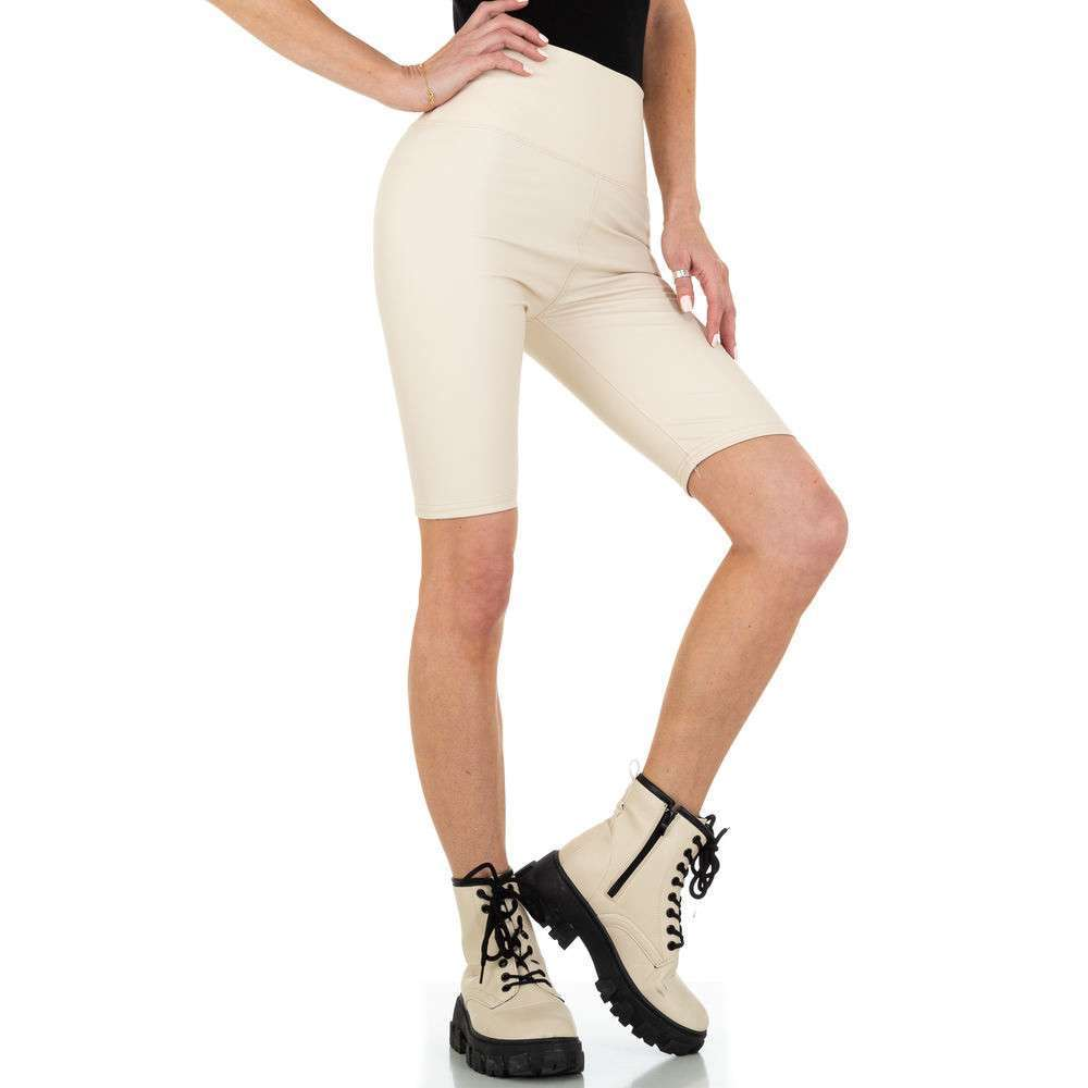 Pantaloni scurți pentru femei cu talie înaltă marca Holala - crem