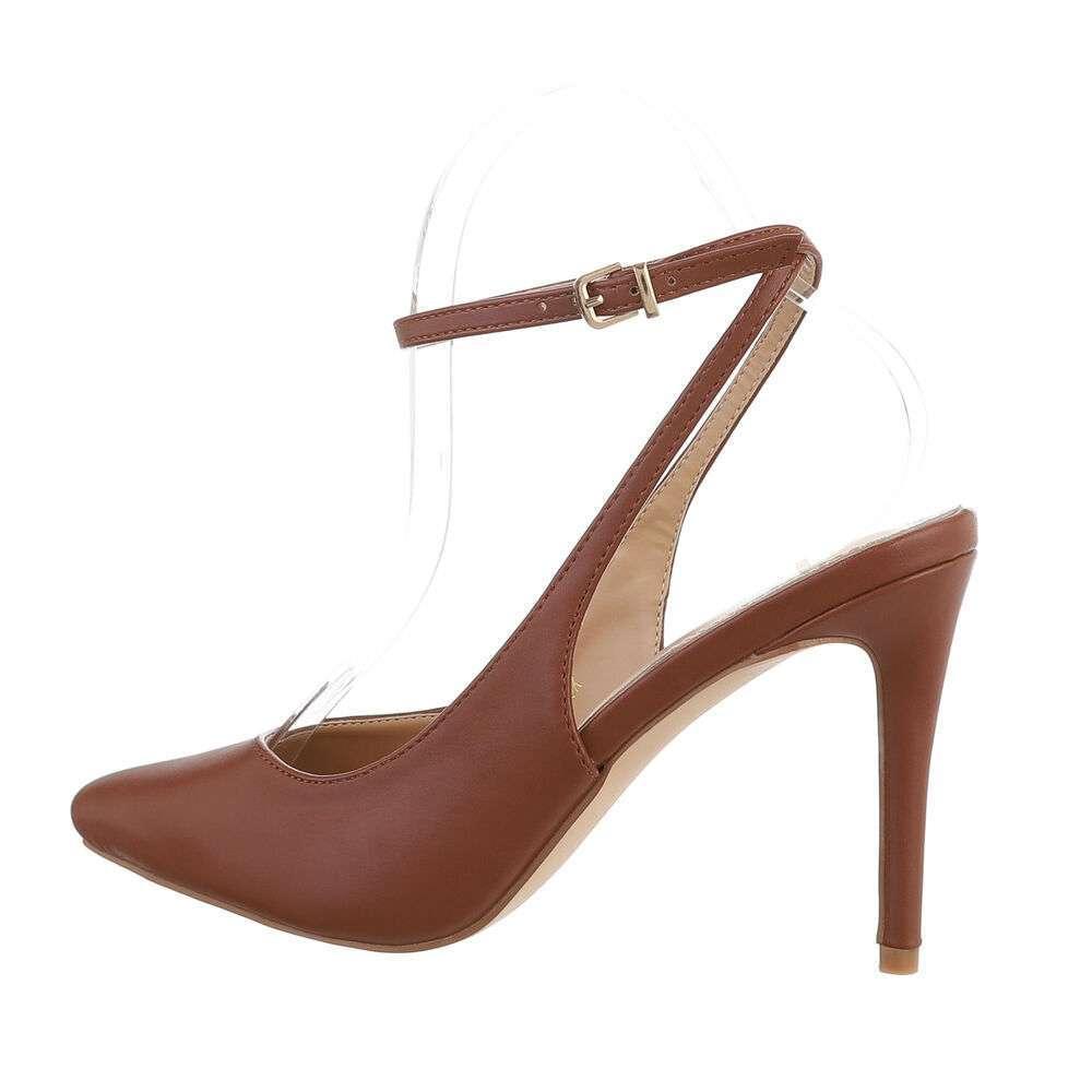 Туфли-лодочки женские на высоком каблуке - коричневые
