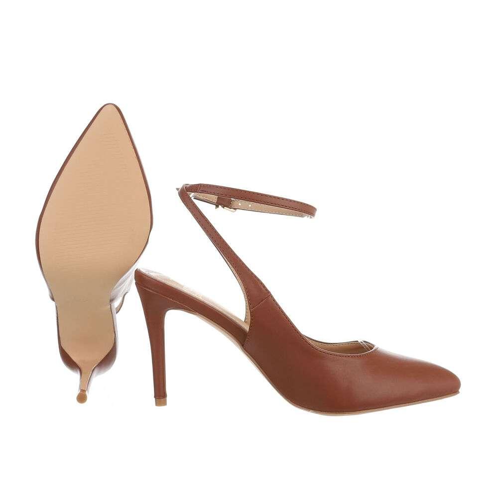 Pantofi cu toc înalt pentru femei - maro - image 2