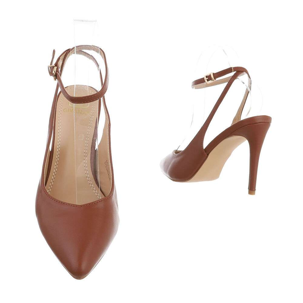 Pantofi cu toc înalt pentru femei - maro - image 3