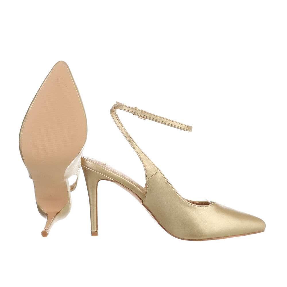 Pantofi cu toc înalt pentru femei - auriu - image 2