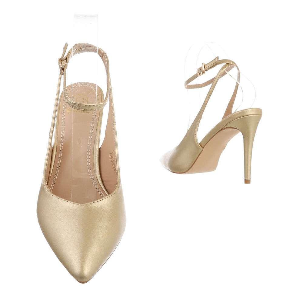Pantofi cu toc înalt pentru femei - auriu - image 3