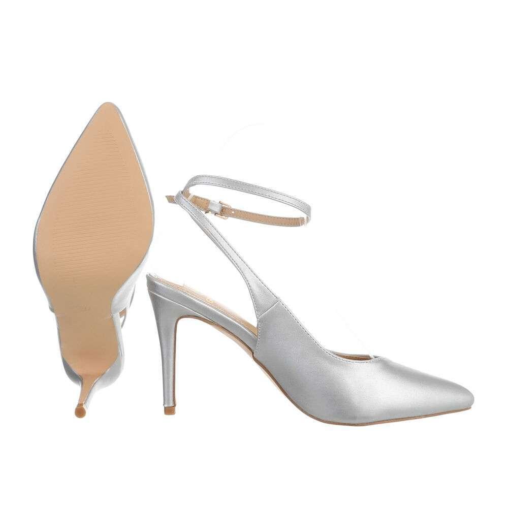 Pantofi cu toc înalt pentru femei - argintiu - image 2