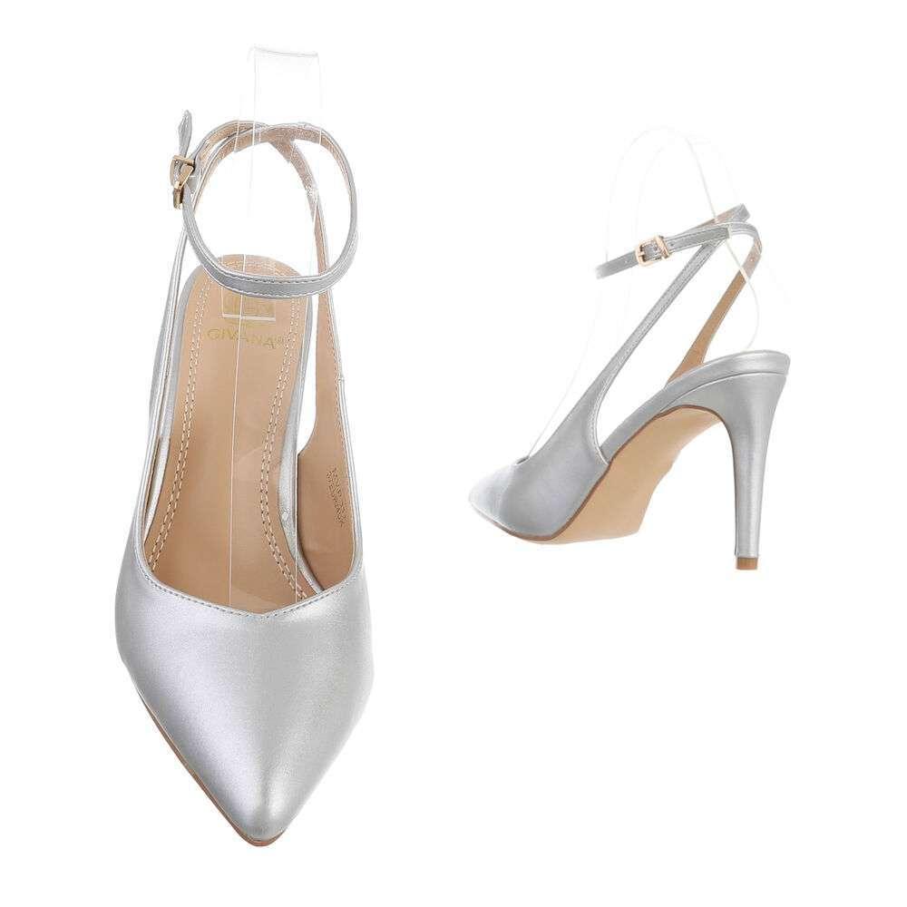 Pantofi cu toc înalt pentru femei - argintiu - image 3