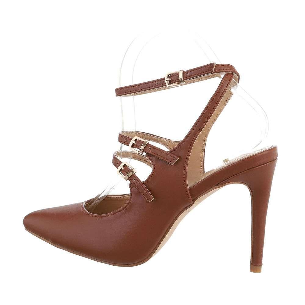 Pantofi cu toc înalt pentru femei - maro