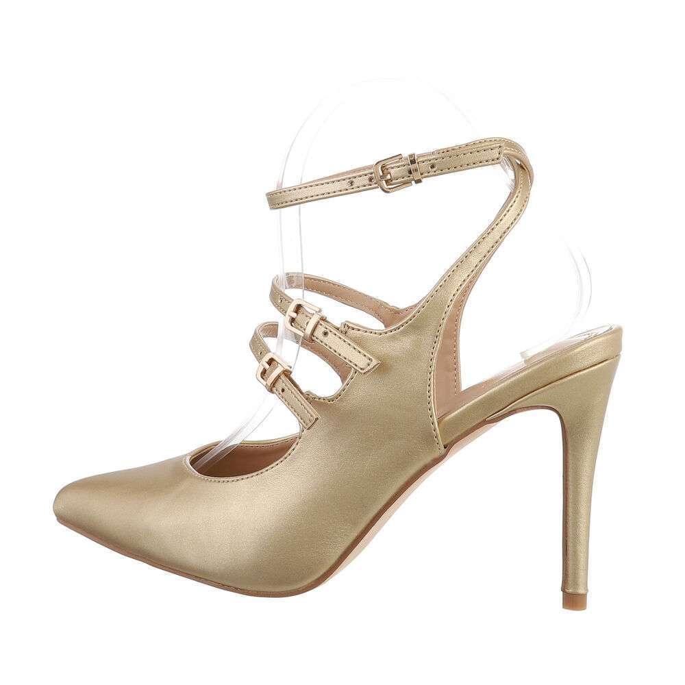 Pantofi cu toc înalt pentru femei - auriu