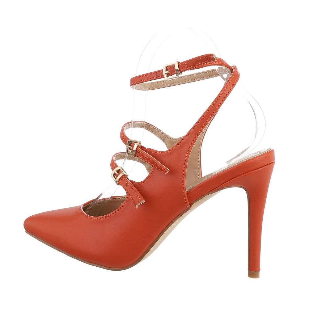 Pantofi cu toc înalt pentru femei - portocaliu