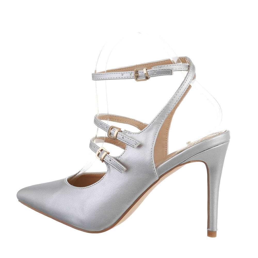 Pantofi cu toc înalt pentru femei - argintiu