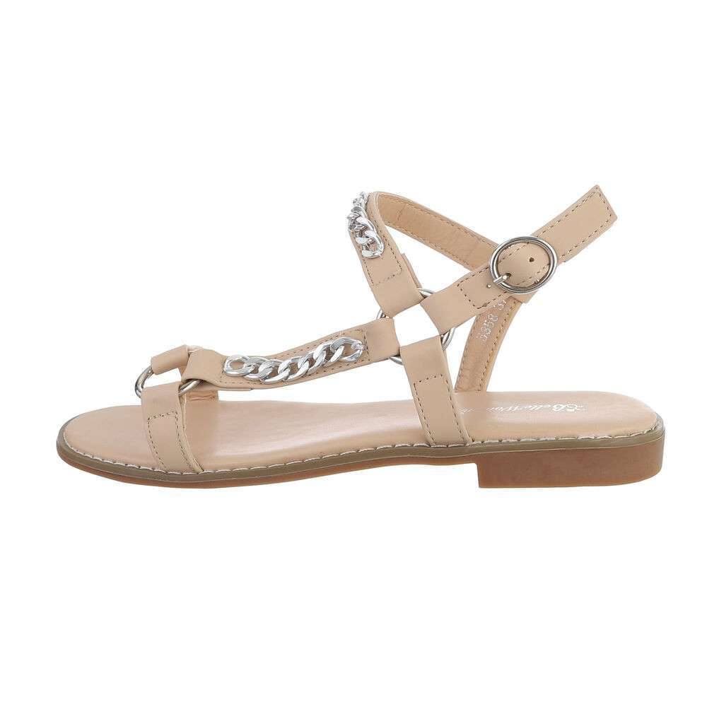 Sandale plate pentru femei - bej