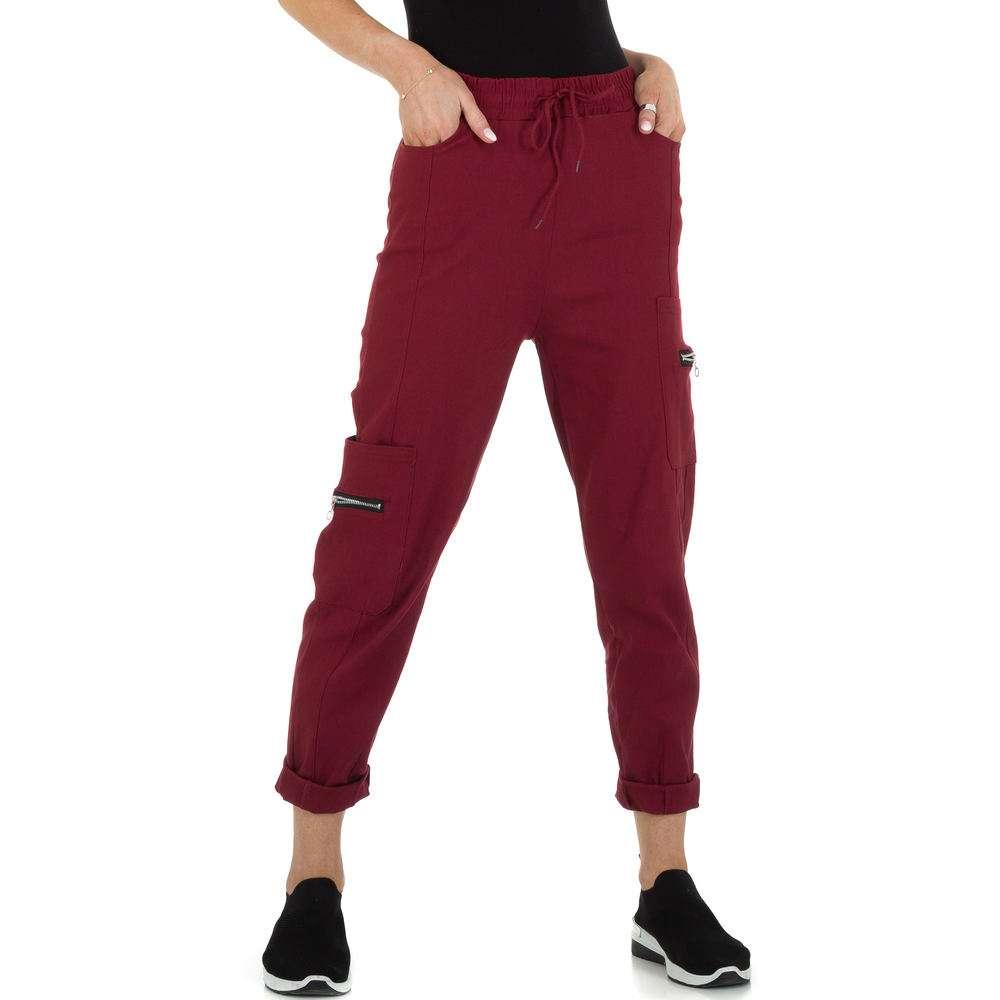 Pantaloni din stofă pentru femei marca Holala - visiniu