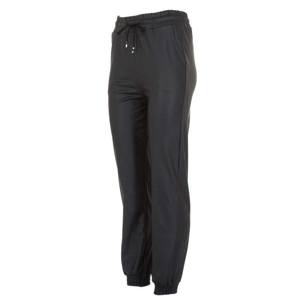 Pantaloni cu aspect de piele pentru femei marca Holala Fashion - neagră