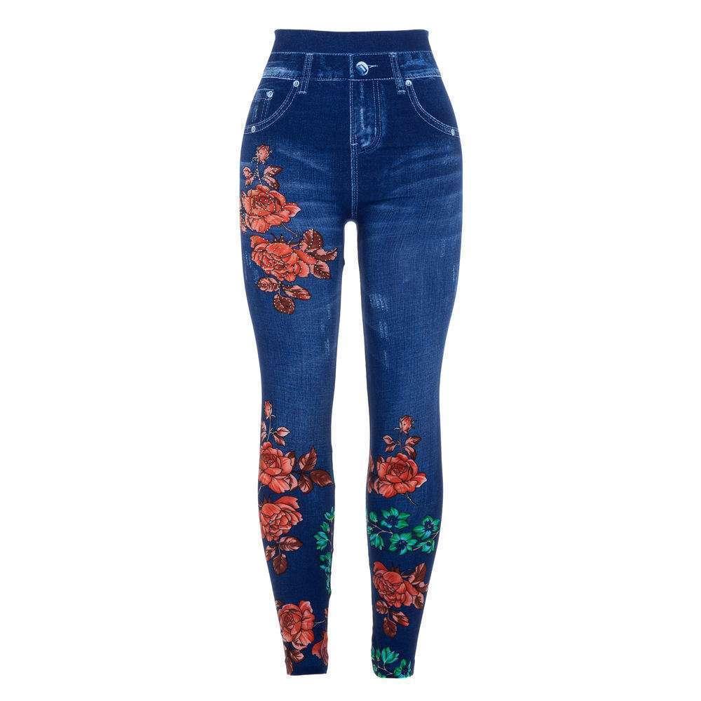 Jambiere cu aspect de Jeans pentru femei marca Holala Gr. O mărime - albastră