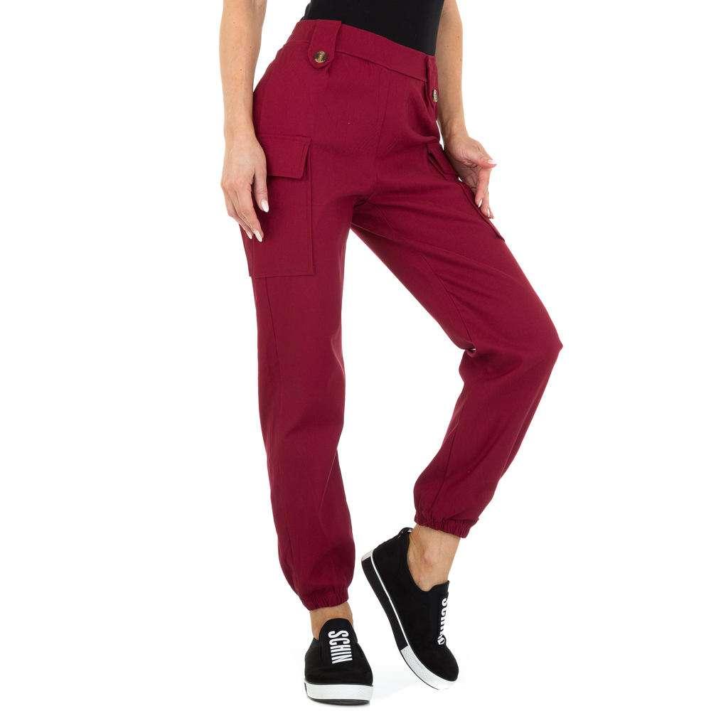 Pantaloni Boyfriend pentru femei marca Holala - visiniu