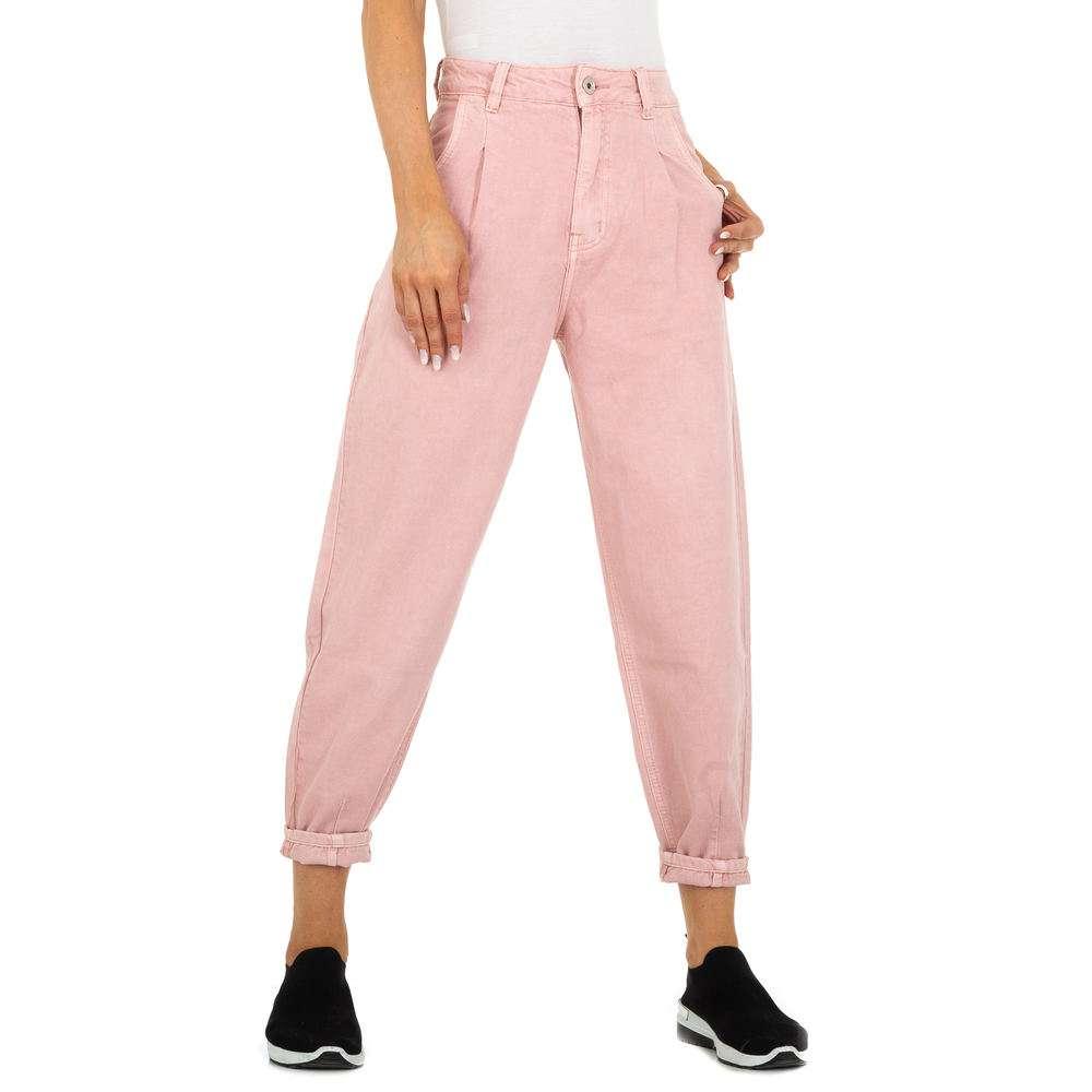 Blugi cu talie înaltă pentru femei marca M.Sara - roz