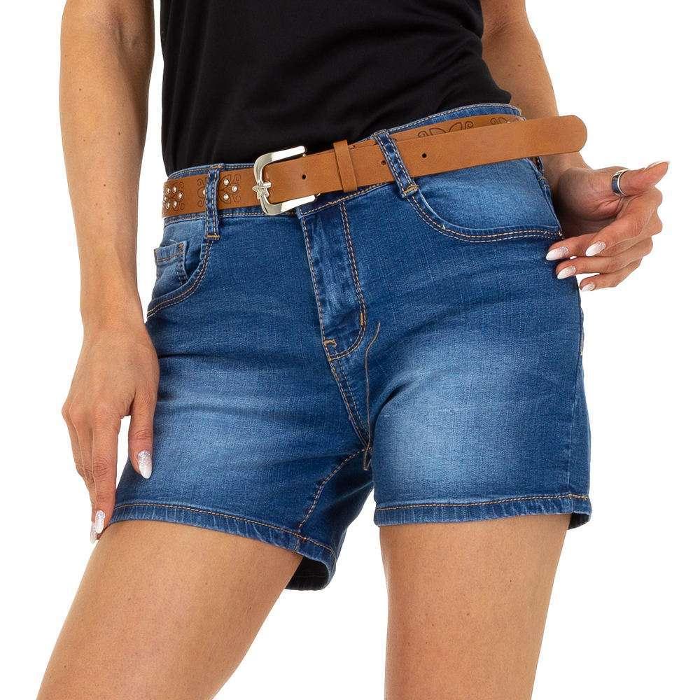 Pantaloni scurți din denim pentru femei marca M.Sara - albastră
