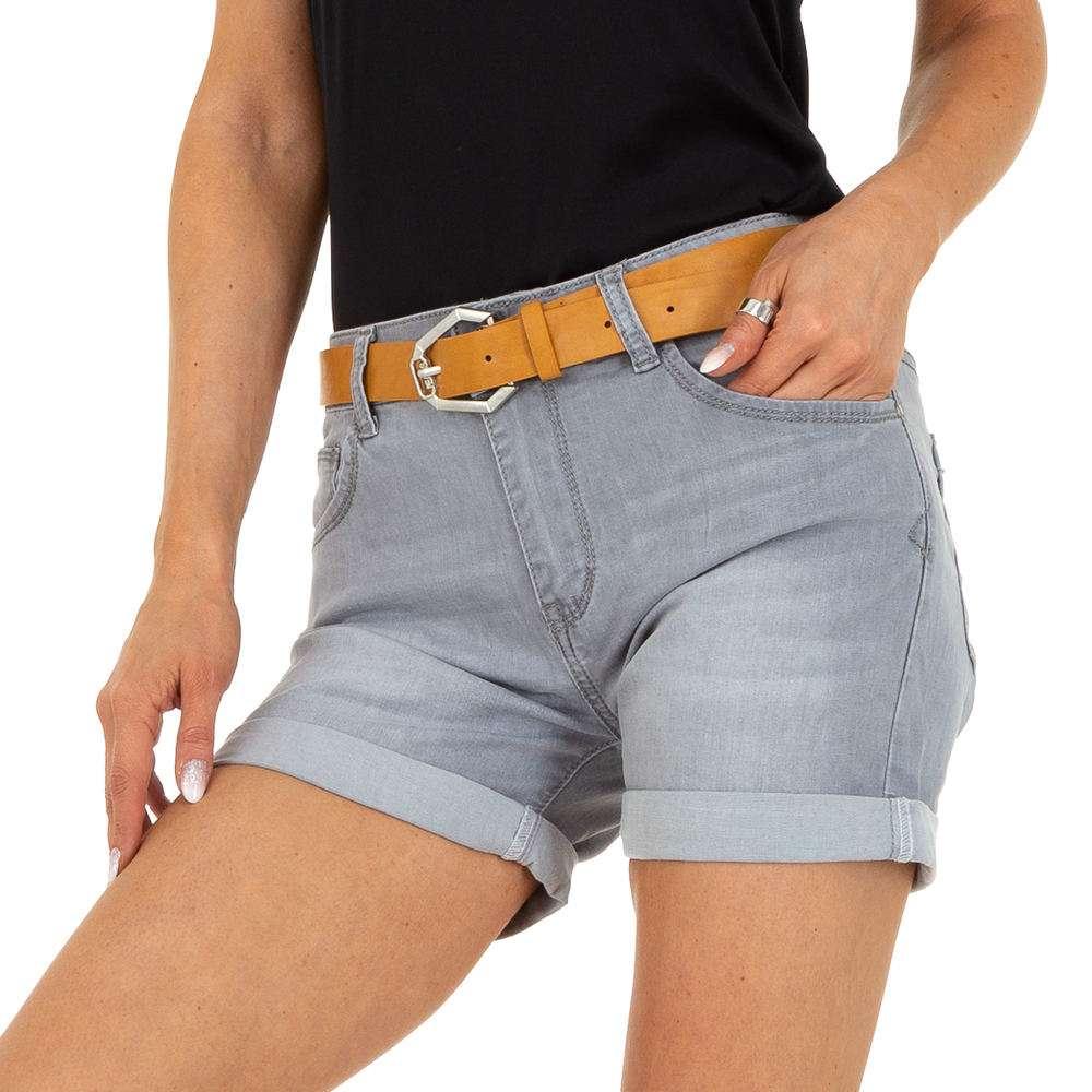 Pantaloni scurți din denim pentru femei marca M.Sara - gri