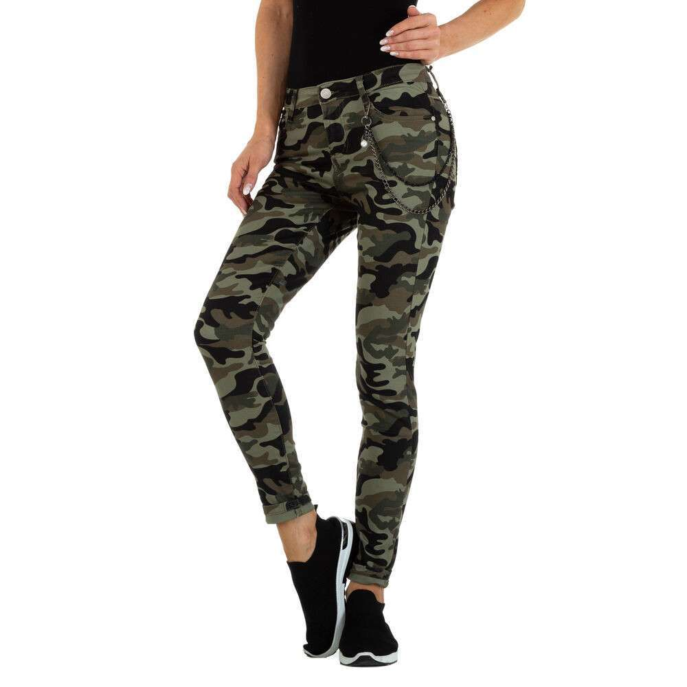 Blugi Skinny pentru femei marca M.Sara - verde armată