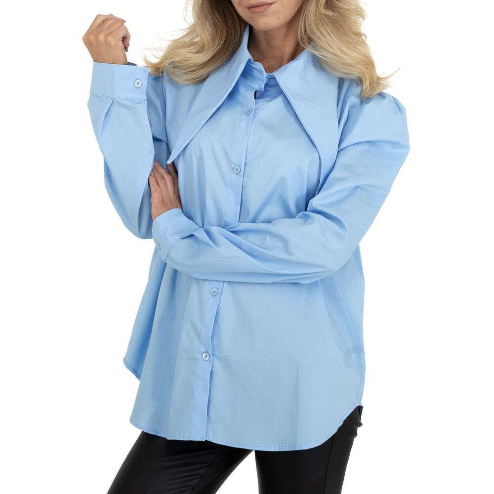 Bluză cămașă pentru femei marca BY Julie Gr. O mărime - albastră