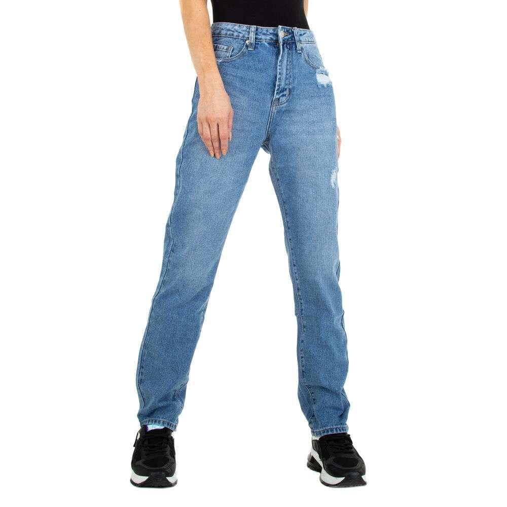 Blugi cu talie înaltă pentru femei marca Colorful Premium - albastră