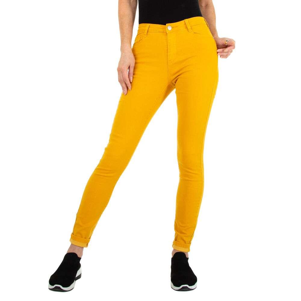 Blugi Skinny pentru femei marca Colorful Premium - galben