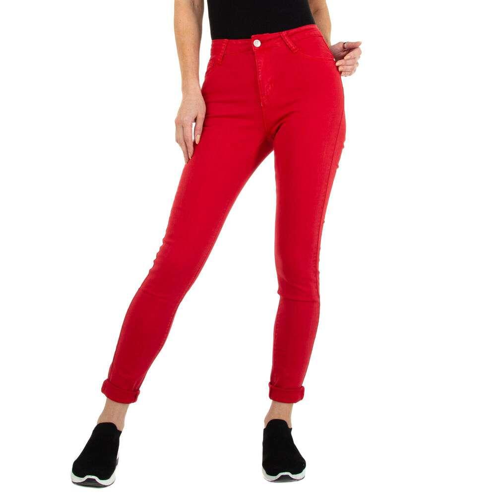 Blugi cu talie înaltă pentru femei marca Colorful Premium - roșii