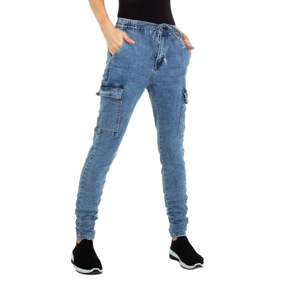 Blugi cu talie înaltă pentru femei marca Jewwely - albastră