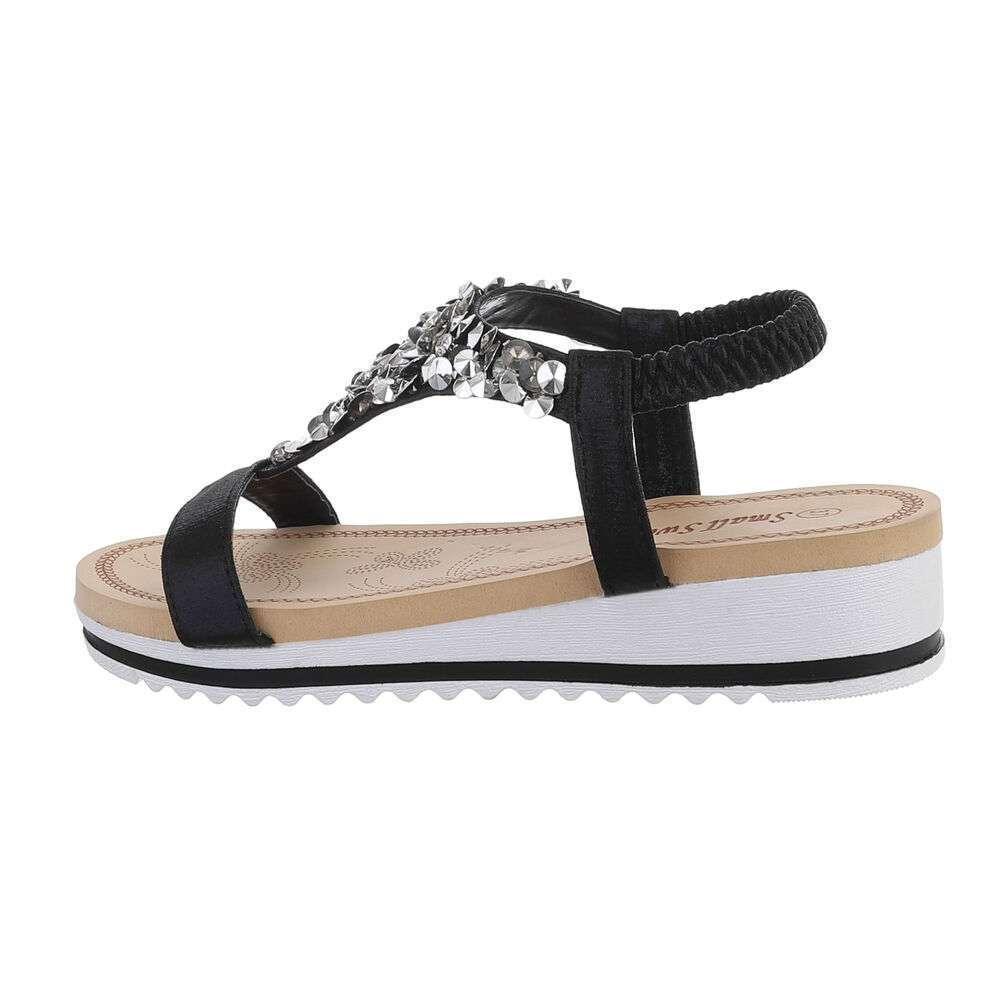 Sandale cu pană pentru femei - negru