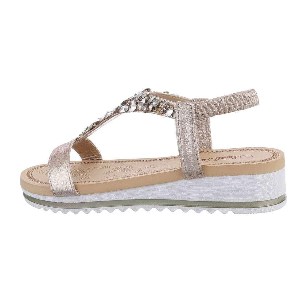 Sandale cu pană pentru femei - auriu