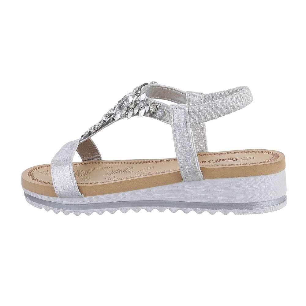 Sandale cu pană pentru femei - argintiu