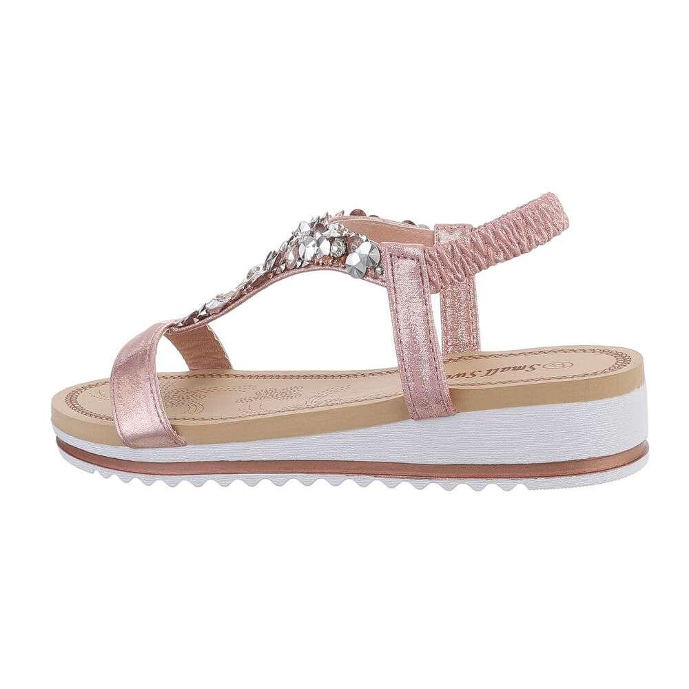 Sandale cu pană pentru femei - champagnecolor