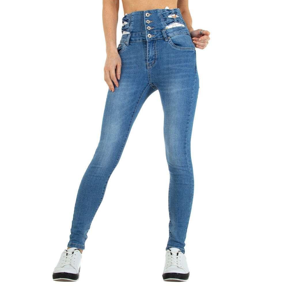 Blugi cu talie înaltă pentru femei marca M.Sara - albastră